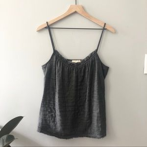 Eileen Fisher grey ruffle tank size Small